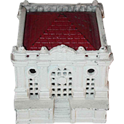 Painted Cast Iron Still Penny Bank White Building With Many Windows Red Roof