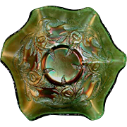 Vintage Carnival Glass Iridescent Green Ruffled Bowl Fenton's Hearts and Vines Pattern