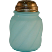 Antique Frosted Blue Glass Ribbed Body and Domed Lid Muffineer or Sugar Shaker