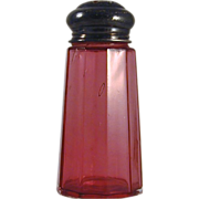 Antique Mold Blown Cranberry Glass Muffineer or Sugar Shaker