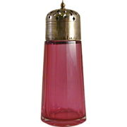 Antique Clear Cranberry Glass Muffineer or Sugar Shaker EPNS Lid