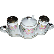 SALE NORITAKE AZALEA  Salt and Pepper Caddy with shakers and Mustard and spoon