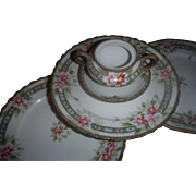 ANTIQUE 9 Piece of Hand painted NIPPON, BEAUTIFUL DESIGN. light pink Azalea florals,