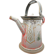Primitive 19th Century Hand-Painted Folk Art Watering Can,