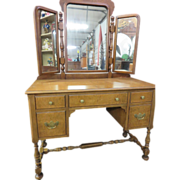 Maple Triple-Mirror Vanity Desk, Northern Furniture Company, circa 1920