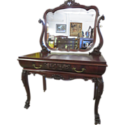 Mahogany Colonial Revival Chippendale Style Vanity Circa 1895-1905