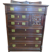 Cherrywood Eastlake Art Nouveau Highboy, Circa 1890s