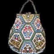 Needlepoint Handbag Aztec Design with Beads and Jewels Circa 1930