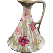NIPPON PORCELAIN EWER/PITCHER, BEADED AND MORIAGE, HAND-PAINTED AND GILDED, RARE GREEN CHERRY