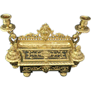 French Rococo Revival Gilded Bronze Double Inkwell, Circa 1850-1870