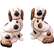 SOLD Staffordshire Cavalier King Charles Spaniels With Copper Luster Markings, Circa 1885-1890