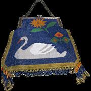 Early 20th C Beaded Purse Swan Motif