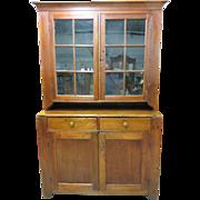 Primitive American Heartland Pine Step-Back Cupboard – Circa 1790-1800