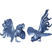 SALE Fine Peruvian Sterling Silver Roosters 37 Ounces