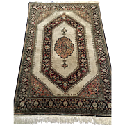SALE Persian rug Gum 100% silk Ivory  Navy 3 ft. 4 in. x 5 ft ...