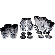 "SALE Waterford ""Lismore"" cut crystal stemware 9 Water or Wine glasses 7 inch"