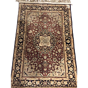 SALE Persian rug Gum 100% silk Ivory Navy 3 ft. x 2 ft Excellent Condition