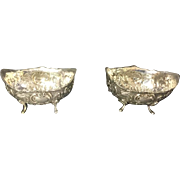 SALE Pair of Sterling Silver Repousse  Open Salt