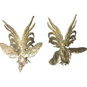 SALE Pair of Silver Plated Small Fighting Cocks by Roberto Rossi ,Italy