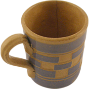 1920's Czech checkerware mug light blue