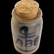 Miniature stoneware crock freehand decorated cobalt blue sailor anchor
