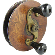 Klondike wood salmon fishing reel ca.1900, surf casting