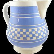 "BIG Villeroy & Boch Dresden pitcher blue checkerware 7¾"""