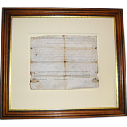 1785 Patrick Henry vellum document -Indian attack-