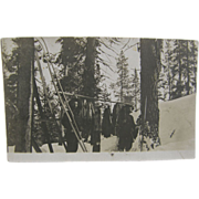 Fisher Trapping ca.1910's, Adirondacks upstate New York, red fox, fisher, marten - RPPC