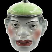 ca.1900 figural head pipe tobacco humidor, mulatto