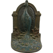 SOLD Painted peacock peafowl bookends ca.1910 (pair) or French door stops