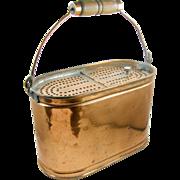 SALE =RARE= Copper minnow bait bucket, Kentucky, ca.1880's, oval