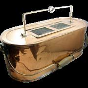 SALE =RARE= Copper minnow bait bucket, Kentucky, ca.1880, oval 2-part =BIG=