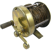 SALE Brass fishing reel ca.1900, copper line, leather thumb brake