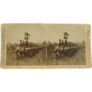 SOLD -SCARCE- 1900 antique stereoview, Tampa, mounted Rough Riders, Span-Am War