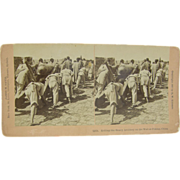SALE 1900 Boxer Rebellion, artillery on Great Wall, Peking China - antique stereoview by Davis