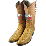 SALE 1985 Texas SesquiCentennial Tony Lama full quill ostrich boots