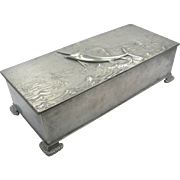 =RARE= A&C ca.19-teens pewter billfish swordfish marlin footed box