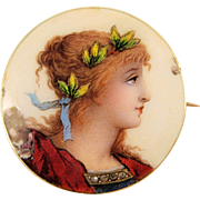 Delicate 1890s enamel portrait of beautiful girl, 18K stamped French solid gold frame and rose