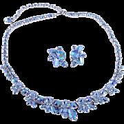 SALE Splashy Signed Sherman Blue Aurora Borealis Necklace & Earrings Set