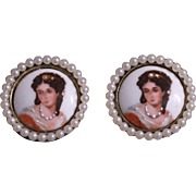 SALE Vintage French Limoges Cameo Faux Pearl Earrings