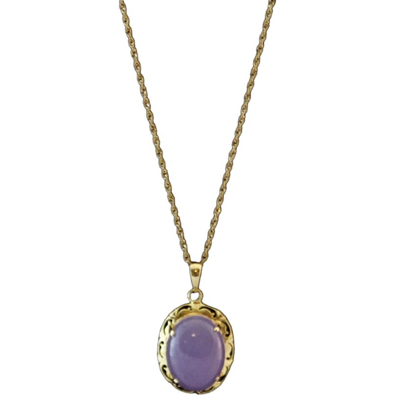 14k gold lavender jade pendant with 18 quot chain from