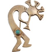 """Sterling Silver Kokopelli Brooch with Turquoise 2 1/4"""""""