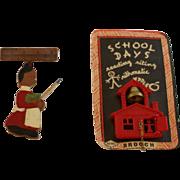 Vintage School Days Pins & Schoolmarm Pin Duo