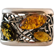 SALE Beautiful Handcrafted Sterling Silver Baltic Amber Ring