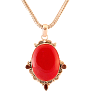 Beautiful Red Stone & Garnet Pendant Set in Sterling Silver