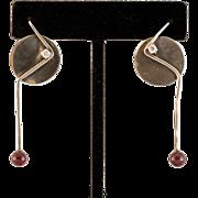 Modernistic Sterling Silver Earrings with Rhodolite Garnet Bead
