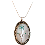 Beautiful Sterling Mother of Pearl and Inlaid Turquoise Pendant