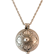 Sterling Silver Asian Motif Orb Locket with Chain