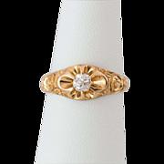 Beautiful 14K Gold Mine Cut Diamond Ring